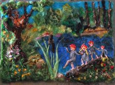 Needle Felted Wool Tapestry - The forest children