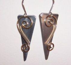 Handmade Silver Aluminum and Brass Wire Earrings #Handmade #DropDangle