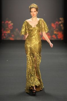 golden gown at Lena Hoschek A/W 2013 #MBFWB