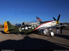 "North American P-51D Mustang N5428V ""Gunfighter"" parked on the ramp at Midland, Texas. Owned by the Commemorative Air Force, Gun fighter group, Council Bluffs, Iowa."