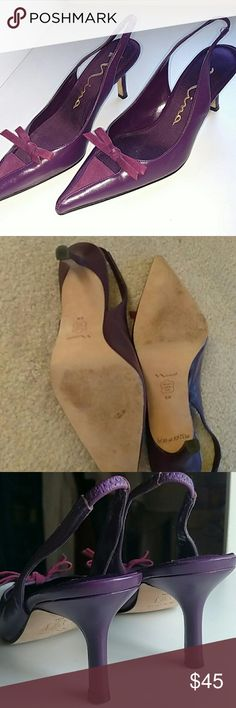 "Heels by Nina Leather Sole, almost new condition, 3"" kitten heel, very comfy, elastic on back sling Nina Shoes Heels"