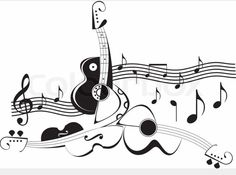Illustration of Musical instruments - guitars and violin. Black and white abstract vector illustration. String instruments and music notes. vector art, clipart and stock vectors. Drum Tattoo, Guitar Tattoo, Guitar Notes, Music Notes, Music Tattoos, Body Art Tattoos, Musical Instruments Clipart, Music Instruments, Music Silhouette