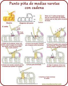 Punto piña de medias varetas con cadena-puff stitch
