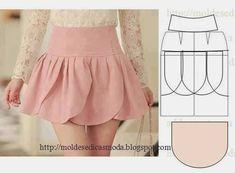 Petal Skirt Pattern and links for Tutorial Fashion Sewing, Diy Fashion, Ideias Fashion, Fashion Clothes, Dress Sewing Patterns, Clothing Patterns, Girls Skirt Patterns, Diy Clothing, Sewing Clothes