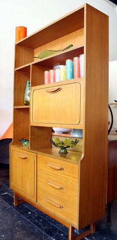 Teak room divider with dropfront bar