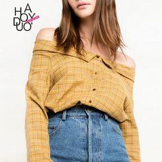 8d44adea029d7 Orange long sleeve off the shoulder plaid shirts women stylish check bardot  tops ladies preppy style vintage button down blouse