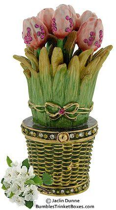 Tulips In A Basket Limoges Trinket Box