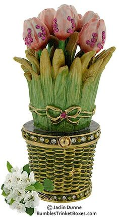 Tulips In A Basket Limoges Trinket Box