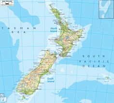 Physical Map of New Zealand Where Is New Zealand, Map Of New Zealand, Country Information, New Zealand Holidays, Canada Images, Island Map, South Island, Canterbury, Auckland