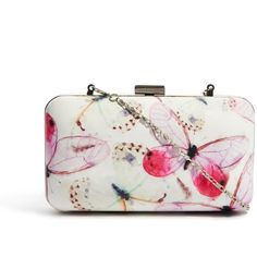 Textile Federation Butterfly Wings Box Clutch Bag ($28) ❤ liked on Polyvore featuring bags, handbags, clutches, purses, сумки, hand bags, kiss-lock handbags, man bag, snap closure purse and chain purse