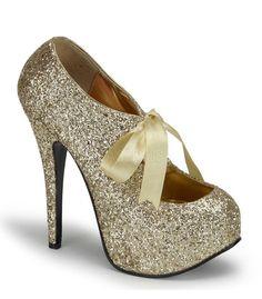 Bordello Gold Glitter Stiletto Platforms - The Atomic Boutique
