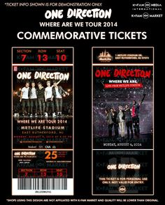 One Direction Concert Tickets, 1d Concert, One Direction Collage, One Direction Tours, Desenhos One Direction, Where We Are Tour, Ticket Design, Chalk Drawings, Printer