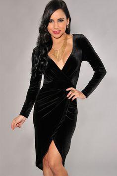 Black Velvet Faux Wrap Bodycon Dress