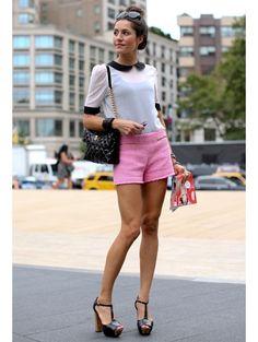 collar pink shorts