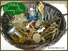 Invite your toddler to explore Christmas with this Nativity Sensory Bin.