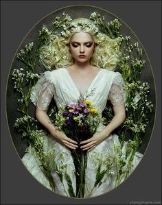 zemotion   Zhang Jingna Photography Blog  Love the flowers in her hair and the angle of the shot taken