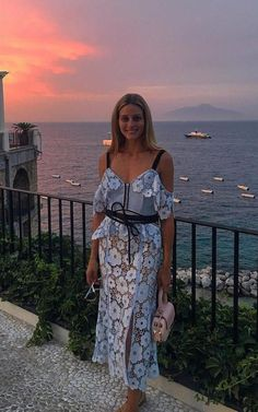 #OliviaPalermo on her current vacations in Italy July 2016, spotted in #selfportrait floral lace dress. #dailylook #vacations from @LoveOlivaPalermo's closet #self-portrait