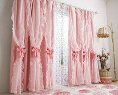 The most fabulously girly, gorgeous pink panel curtains EVER!!! #curtains #shabby #chic #pink #vintage #girly #living_room #home #decor #bows