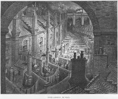 """Gustave Doré and Blanchard Jerrold, 'London: A Pilgrimage' // Yet another engraving from this 1872 book; the view overlooking dozens of tiny Victorian """"gardens"""" (or what passed for them, for the lower classes). Love the use of light and shadow, the oppressive walls and stone."""