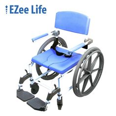 Top Mobility Scooters offers the EZee Life aluminum attendant shower and commode chair model# It is a hybrid wide commode and a wheelchair chair in one. The chair comes with two wheelc. Shower Commode Chair, Shower Chair, Shower Wheelchair, Bathroom Safety, Bath Seats, Small Showers, Walk In Shower, Master Shower, Diy Shower