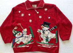 Heirloom Collectibles Ugly Christmas Cardigan Sweater Top Jacket Red Size 22  #HeirloomCollectibles #Cardigan