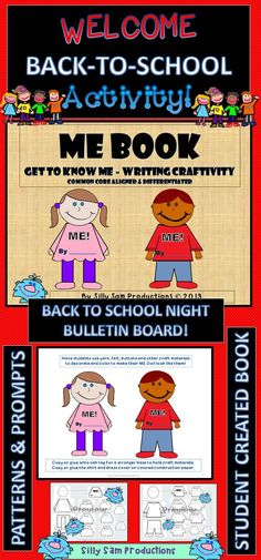 BACK TO SCHOOL ACTIVITY! ME BOOK! Patterns and Prompts provided to make a STUDENT CREATED BOOK! Great BACK TO SCHOOL NIGHT BULLETIN BOARD! $ (scheduled via http://www.tailwindapp.com?utm_source=pinterest&utm_medium=twpin&utm_content=post12230788&utm_campaign=scheduler_attribution)