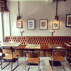 Vintage furniture and vintage metal chair for coffee shop interior design .