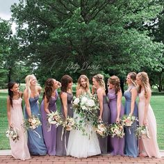 Amsale Bridesmaids in an assortment of colors and styles