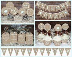 Rustic Baby shower decorations printable Boy baby shower