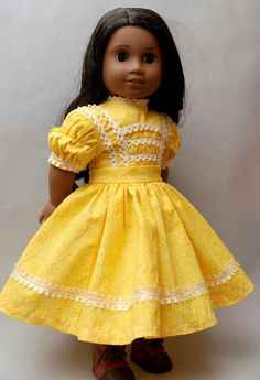 My version of Harriet's yellow dress from Addy's stories American Girl by Dollhouse Designs http://www.etsy.com/shop/DollhouseDesigns...oh this is cute!
