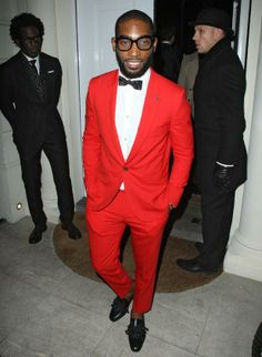Tinie Tempah red suit