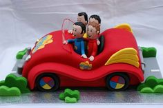 Chocolate Mud Cake decorated with Sugar paste (fondant) Wiggles Big Red Car Wiggles Cake, Wiggles Party, 2 Birthday Cake, Boy Birthday, Birthday Ideas, Car Cake Toppers, Chocolate Mud Cake, 4th Of July Celebration, 3d Cakes