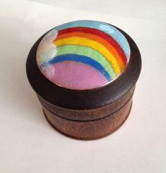 Vintage Rainbow Trinket Box, Small Jewelry Box, Wood, Hand Painted, Enamel Porcelain Inlay, Lid, 1970s, Round