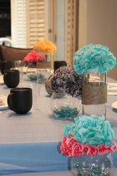 Table centerpieces || five30three: DIY Cupcake Liner Flower Centerpieces