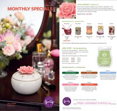 Scentsy April 2015 Warmer of the Month: In Bloom/ Sweet Symphony. $27 for the warmer which I think is an element warmer and $4.50 for the scent which is described as: Sweet hyacinth sings with a fragrant medley of coconut water, violet leaf, and soft musk. This will be perfect for Mother's day. Reminds you of your Mother of Grandmother with her Powder box with powder puff and floral perfume. Follow me on Facebook at: https://www.facebook.com/wicklessfanatic?ref=hl