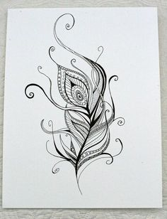 Ornament Peacock Feather Tattoo Design - Great sketch of peacock feather. Tags: Easy, Beautiful, Great You are in the right p - Pfau Tattoo, Tattoo L, Tatoo Henna, Tatoo Art, Henna Art, Body Art Tattoos, New Tattoos, Hand Henna, Peacock Feather Tattoo