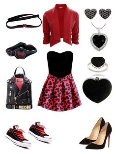 """valentine girl in two styles :P"" by inaey ❤ liked on Polyvore featuring Lipsy, Christian Louboutin, Converse, Moschino, Boohoo, Finesque, Tressa and Ippolita"