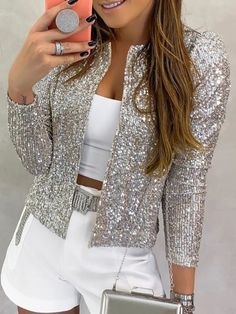 Nine Points Sleeve Straight Sequins Standard Women's Jacket Fashion girls, party dresses long dress for short Women, casual summer outfit ideas, party dresses Fashion Trends, Latest Fashion # Sequin Coats, Glitter Jacket, Casual Outfits, Summer Outfits, Look Fashion, Womens Fashion, Latest Fashion, Fashion Videos, Cheap Fashion