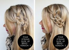 How cute and different for a #braid hairstyle! 4 strand slide up braid comparison - 2 hair #tutorials from @Chi Vu Vu Haircare Repin if you want to try this too! #DIY