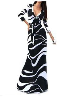 Straight Three-Quarter Sleeve Zebra-Stripe Pullover Floor-Length Fall  Spring European Dress 3038be909