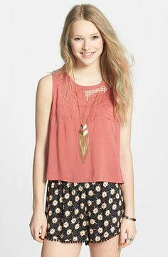 Chloe K Floral Stitch Button Back Tank (Juniors) available at #Nordstrom