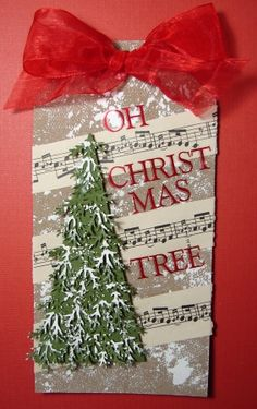 Oh Christmas Tree tag. {think I'll do a similar on with music washi tape and glittered pine}
