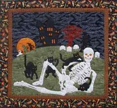 halloween quilt patterns   Quilt PATTERN Happy Hollowbones Halloween skeleton cats