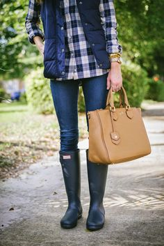 madewell, plaid, plaid button-up, tory burch robinson satchel, hunter boots, puffer vest, fall fashion, fall style