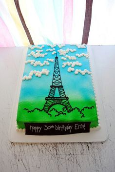 Paris Themed Birthday Sheet Cakes