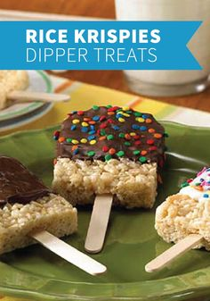 Rice Krispies Dipper Treats – Whipping up these summery goodies and popping them onto ice-cream sticks with your kids makes any hot spring day a little cooler.