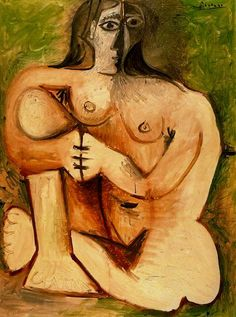 Pablo Picasso Woman Squatting With Green, 1960