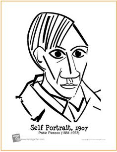 Picasso Self-Portrait | Free Coloring Page - http://makingartfun.com/htm/f-maf-printit/picasso-self-portrait-coloring-page.htm