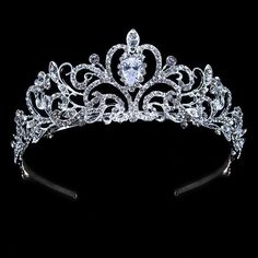 bridal jewelry for the radiant bride Bridal Crown, Bridal Tiara, Bridal Jewellery, Wedding Jewelry Sets, Royal Crowns, Tiaras And Crowns, Girls Tiara, Silver Tiara, Mother Daughter Necklace