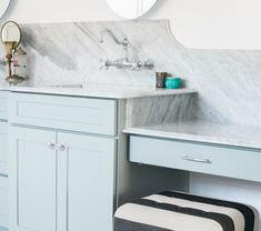 Love the backsplash and wall-mounted faucets...easier to keep clean!